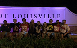 SUCCESS Academy students in front of the University of Louisville at a science camp